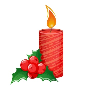 白い背景の上の漫画のクリスマスキャンドルとヒイラギ