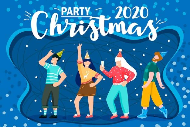 漫画のクリスマス。パーティー2021を祝います。漫画。コーポレートパーティー。クリスマスパーティー。フラットな抽象的なデザイン。明けましておめでとうございます2021年休日の冬のデザイン。