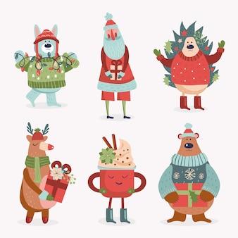 Collezione di personaggi natalizi dei cartoni animati