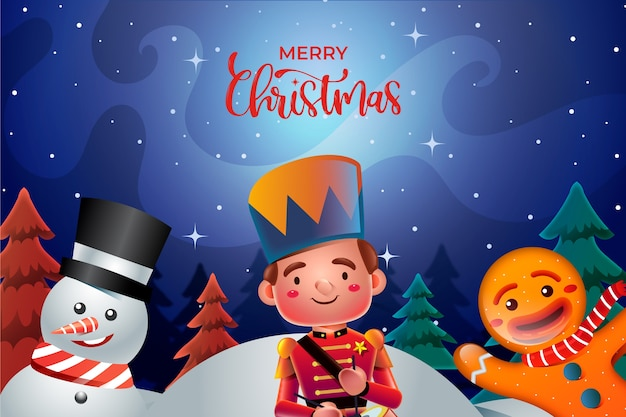 Cartoon christmas characters realistic style