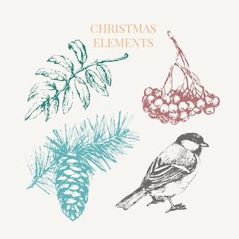 Cartoon christmas elements for celebration decoration design.
