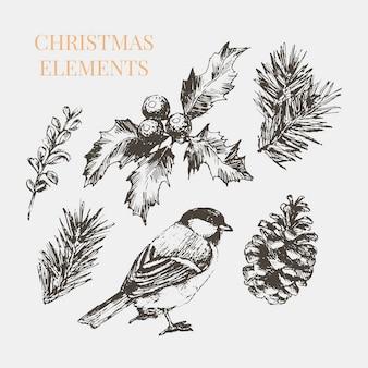 축하 장식 디자인을위한 만화 크리스마스 요소입니다. 빈티지 일러스트입니다. 그래픽 요소. 메리 크리스마스 카드. 고립 된 축제 세트입니다. 새해