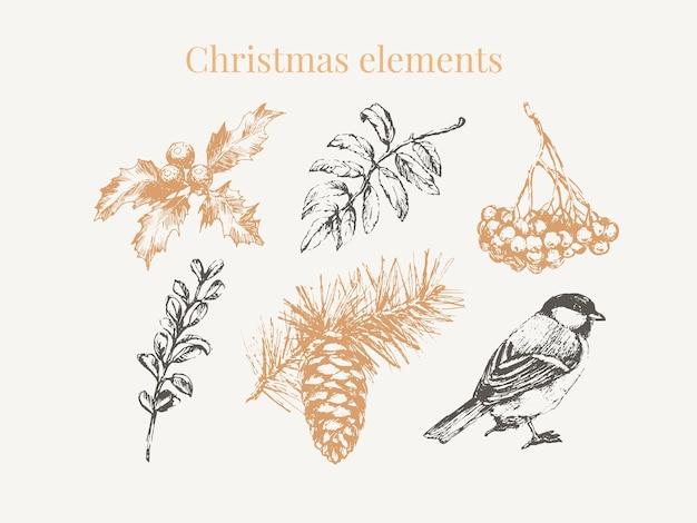 お祝いの装飾デザインのための漫画のクリスマス要素。ヴィンテージイラスト。