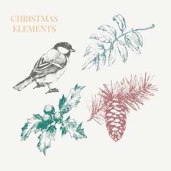 Мультяшные рождественские элементы для дизайна украшения торжества. винтажная иллюстрация.