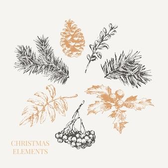 お祝いの装飾デザインのための漫画のクリスマスの要素。ヴィンテージベクトルイラスト。ベクター