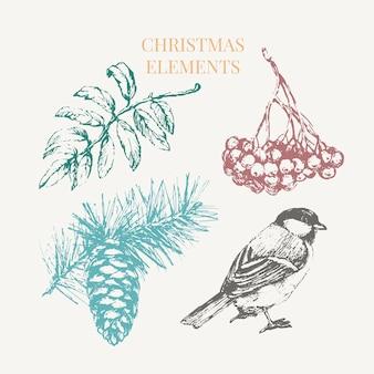 お祝いの装飾デザインのための漫画のクリスマスの要素。