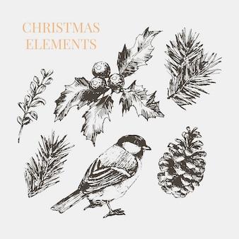 Мультяшные рождественские элементы для украшения торжества.