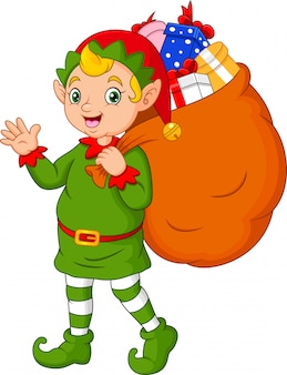 Cartoon christmas elf carrying a sack of gifts
