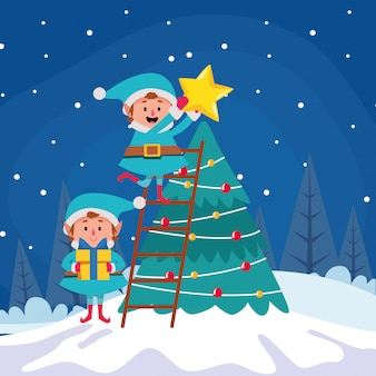 Мультяшный рождественские эльфы, надевающие звезду на рождественскую елку зимней ночью, красочный, иллюстрация