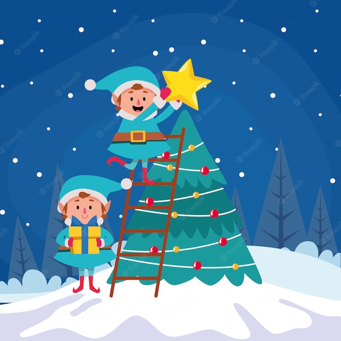 Premium Vector Cartoon Christmas Elfs Putting A Star On A Christmas Tree Over Winter Night Colorful Illustration Mountains at night cartoon moon at night cartoon owl at night cartoon cartoon winter trees at night cartoon forest at night old tree owl sitting on tree branch at night. premium vector cartoon christmas elfs