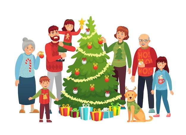 Cartoon christmas family portrait.