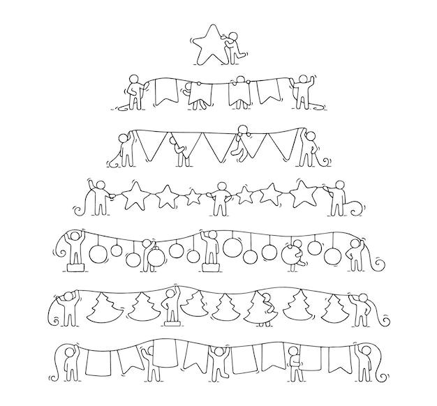 働く小さな人々の漫画のクリスマスの花輪セット。パーティーのシンボルで労働者のかわいいミニチュアシーンを落書き。
