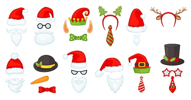Cartoon christmas hats and accessories, photo booth props. santa hat and beard, reindeer antlers, red nose, elf cap, xmas party mask vector set