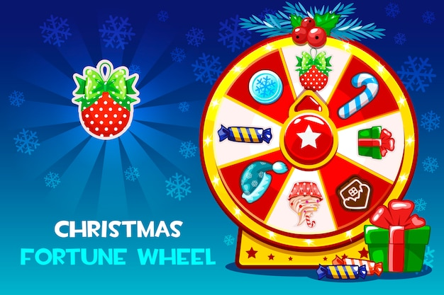 Cartoon christmas lucky roulette, spinning fortune wheel.