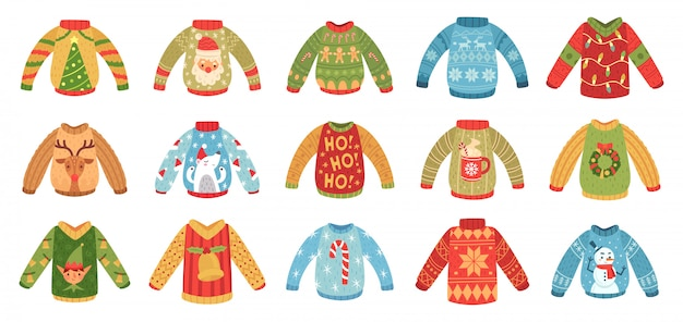 Cartoon christmas party jumpers. xmas holidays ugly sweaters, knitted winter jumper and funny santa sweater vector set