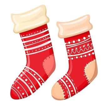 白い背景の上の漫画のクリスマスの赤い靴下。