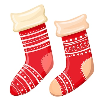Cartoon christmas red socks on a white background.