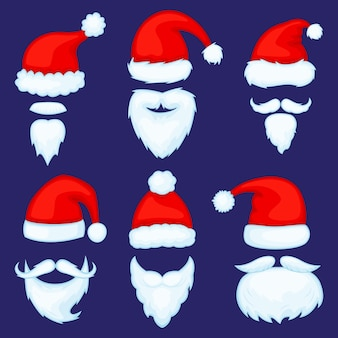 Cartoon christmas santa claus hats with beards or mustaches vector set