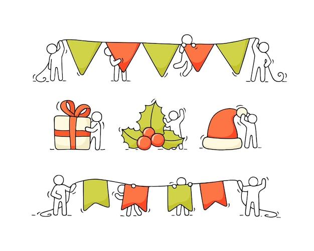 Рождественский набор мультфильмов - маленькие люди с партийной символикой. рисованной иллюстрации для празднования рождества и нового года.