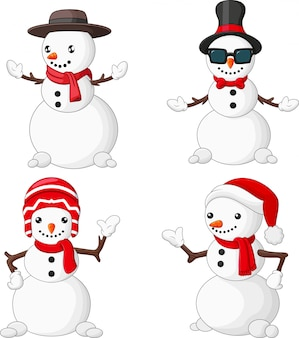 Cartoon christmas snowman collection set