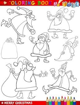 ぬりえの本のための漫画のクリスマスのテーマ