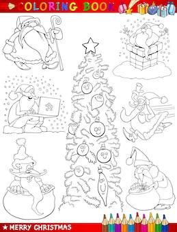 着色のための漫画のクリスマスのテーマ