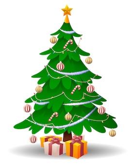 白い背景で隔離の漫画のクリスマスツリー。