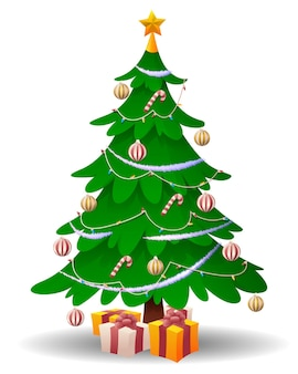 Cartoon christmas tree isolated on white background.