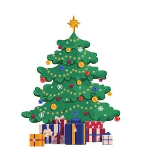 선물 상자와 함께 만화 크리스마스 트리