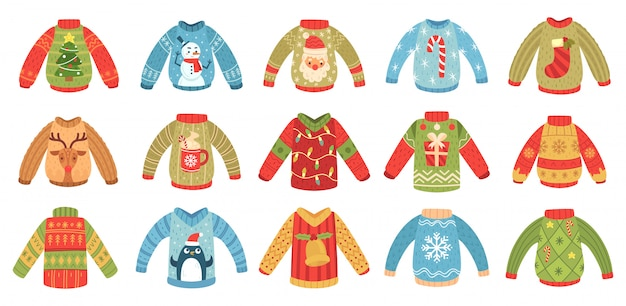 Cartoon christmas ugly sweaters. xmas holidays party jumper, knitted winter sweater with santa and xmas tree isolated  set