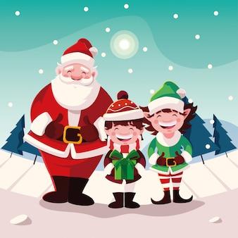 Cartoon of christmas with icons of xmas