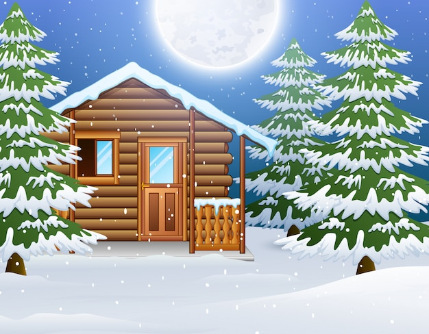 Cartoon of christmas wooden house with fir trees