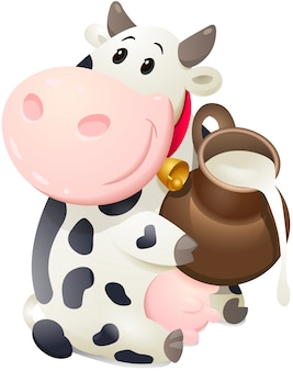 Cartoon chubby cow with jug of milk