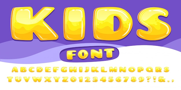 Cartoon chubby font. kids game alphabet, child cartoons bubble lettering and cartoony fonts numbers  illustration set