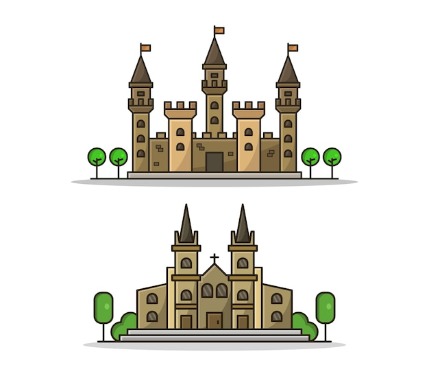 Cartoon church and castle set