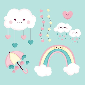 Cartoon chuva de amor decoration element collection