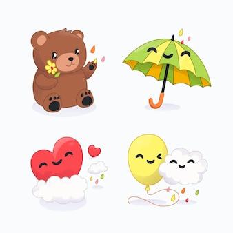 만화 chuva de amor 장식 요소 컬렉션
