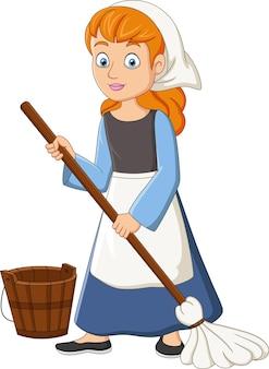 Cartoon cinderella mopping the floor