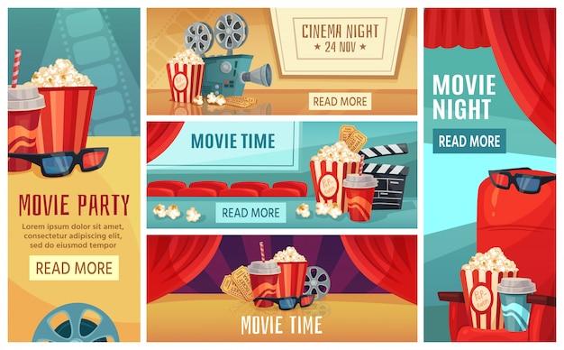 Мультфильм кинотеатр баннер. ночные билеты в кино, кинотеатр попкорн и кинопроектор баннеры иллюстрации набор
