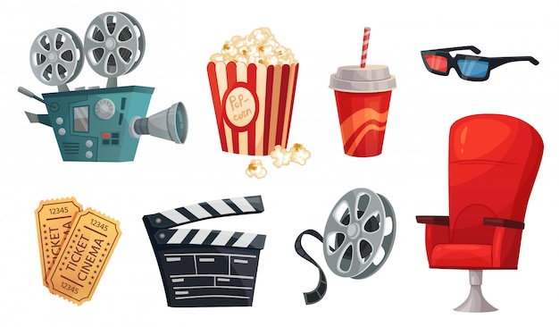 Cartoon cinema elements. movie theater popcorn, filming cinema clapperboard and retro film camera  illustration set