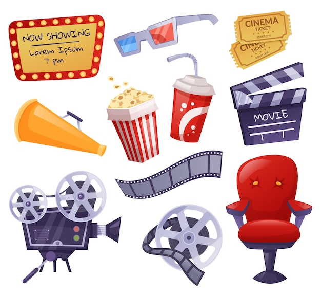 漫画の映画の要素、映画館のチケット、ポップコーン。カメラ、カチンコ、3dメガネ、フィルムテープ、映画産業機器ベクトルセット。撮影制作、エンターテインメント
