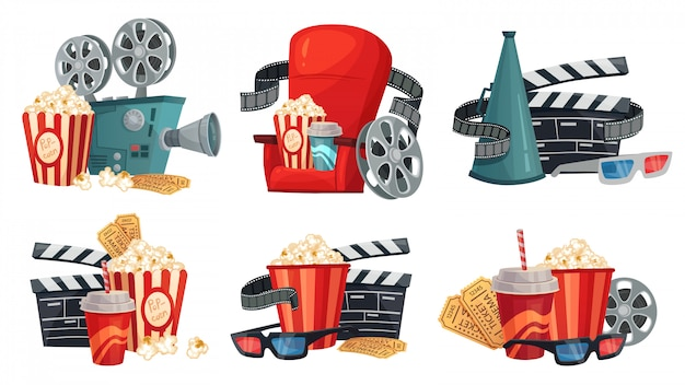 漫画の映画館。映画プロジェクター、シネマグラス、ビンテージフィルムカメライラストセット