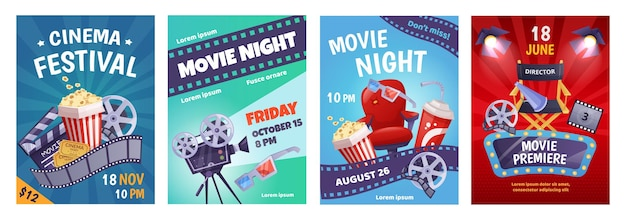 Cartoon cinema poster template, film festival invitation. movie night event posters with popcorn, soda, camera, movie premiere flyer vector set. cinematography equipment for industry