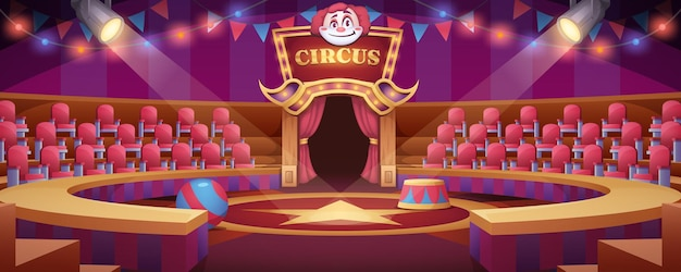 Cartoon circus arena. round stage under marquee dome with seats, flags and searchlights for entertainment performance or carnival show. empty interior inside or carnival ring of cirque tent with scene