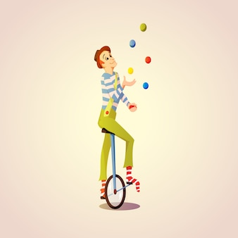 Cartoon circus juggler juggling balls on a unicycle