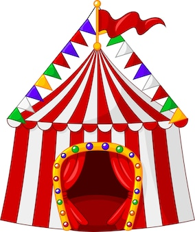 Cartoon circus tent isolated on white background
