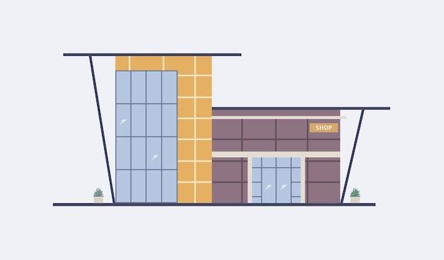 대형 파노라마 창문, 유리 입구 문 및 현대 건축 스타일로 지어진 천막이있는 쇼핑몰의 만화 도시 건물.