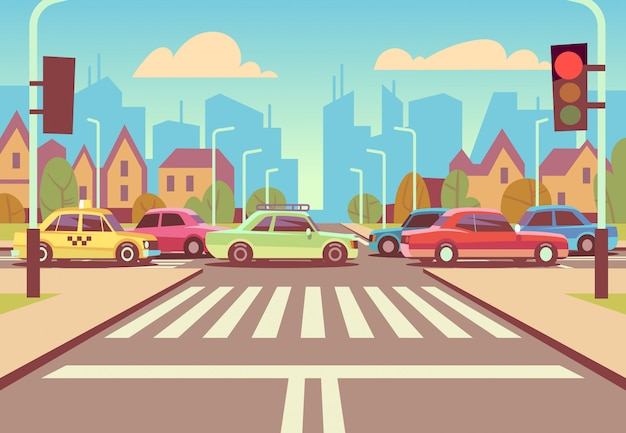 Cartoon city crossroads with cars in traffic jam, sidewalk, crosswalk and urban landscape vector illustration