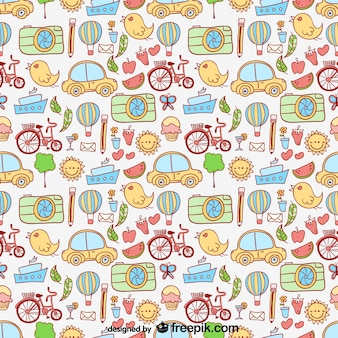Cartoon city elements pattern
