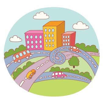 漫画の街の風景、道路、建物